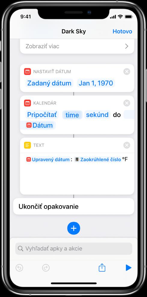 Akcia Dátum, akcia Upraviť dátum aakcia Text veditore skratiek spoužitými premennými.