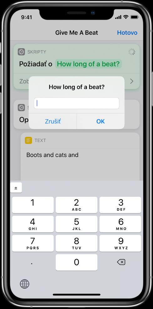 Dialógové okno vyzývajúce užívateľa na zadanie číselného vstupu otvorí namiesto textovej klávesnice číselnú klávesnicu.