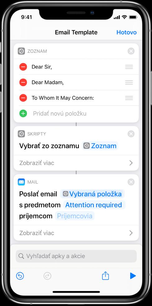 Akcia Zoznam pre textové oslovenie.