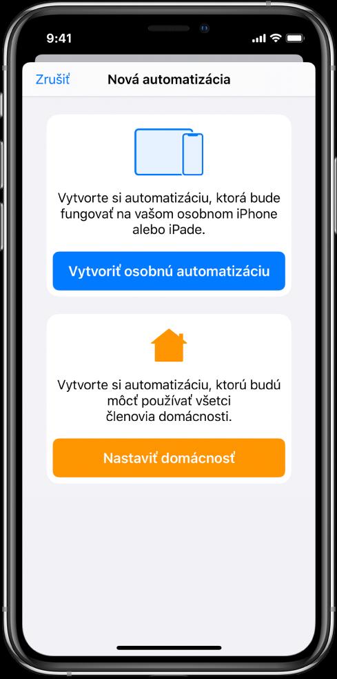 Nová automatizácia, ak už vapke Skratky existuje automatizácia.