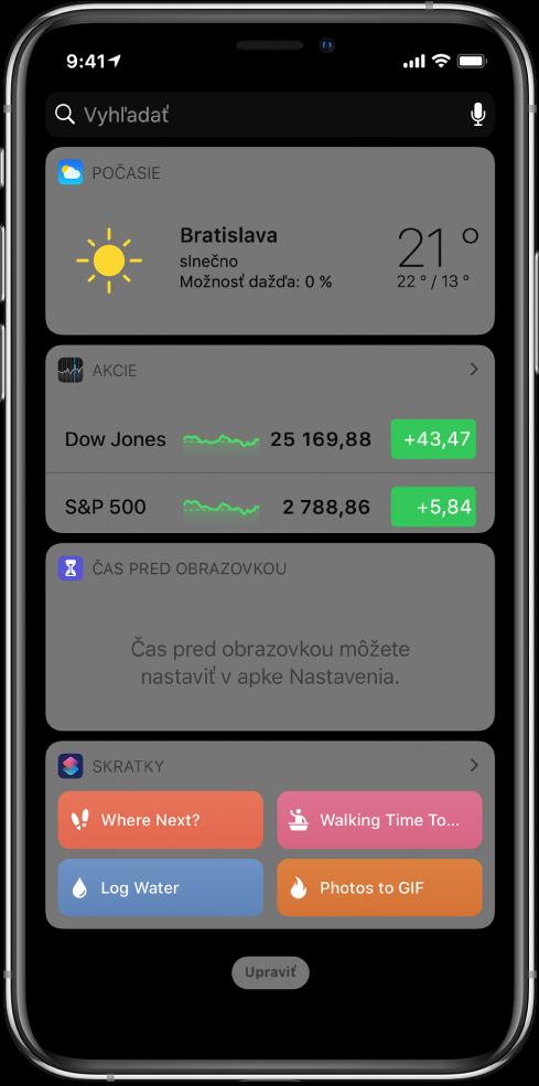 Widget Skratky vzobrazení Dnes na iPhone.
