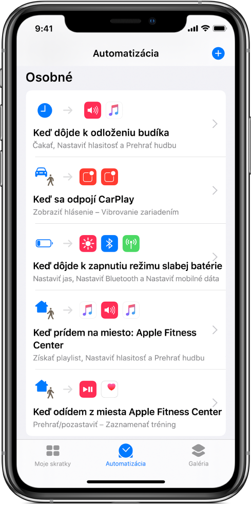 Zoznam osobnej automatizácie vapke Skratky.