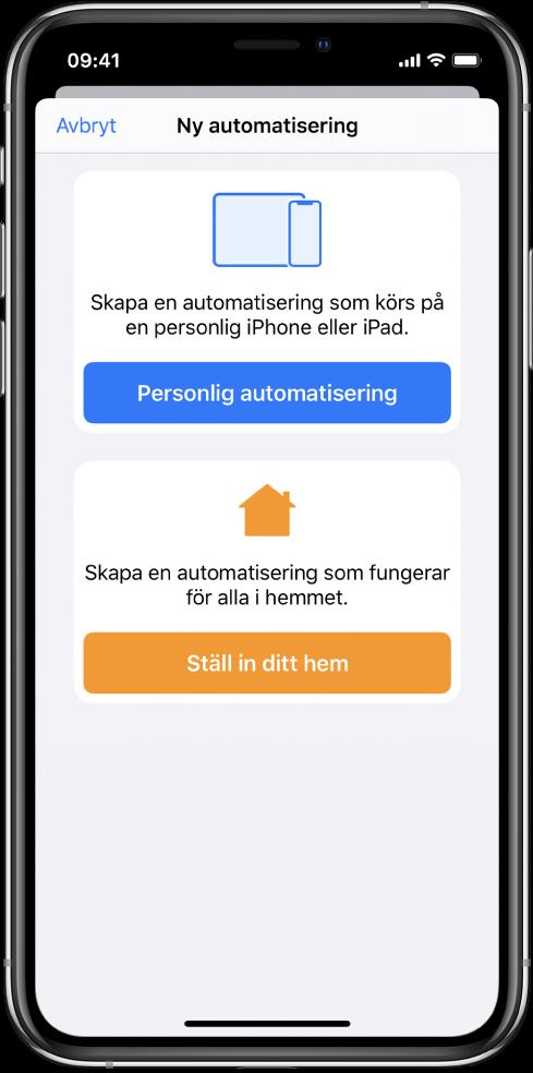 Ny automatisering när automatisering redan finns i appen Genvägar.