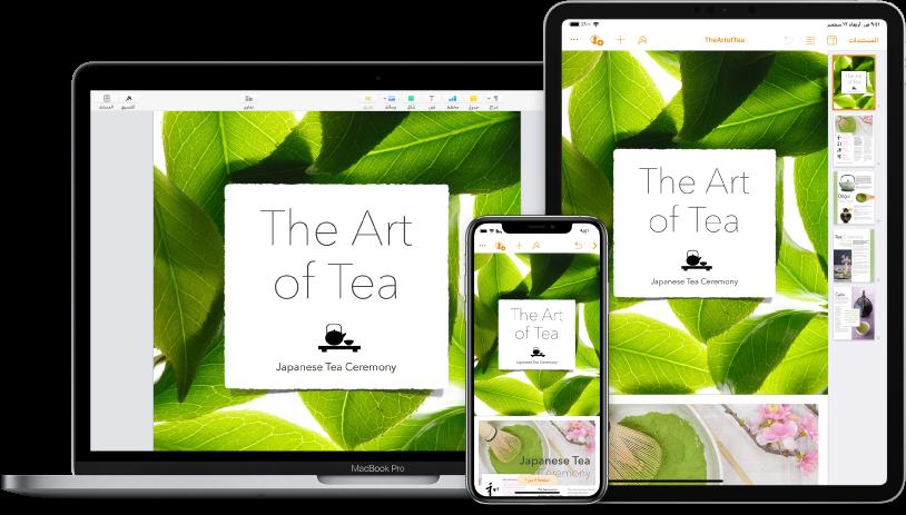 محتوى iCloud يتم الوصول إليه عبر أجهزة متعددة.