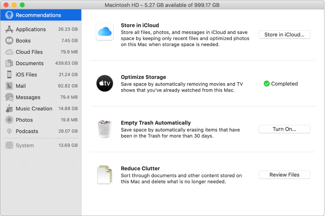 The Recommendations preferences for storage, showing the options Store in iCloud, Optimize Storage, Erase Trash Automatically, and Reduce Clutter.