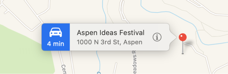A location pinned on a map with a banner displaying the information button and the address.