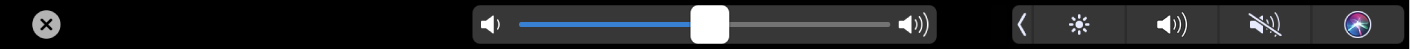 The iMovie TouchBar showing the volume slider.