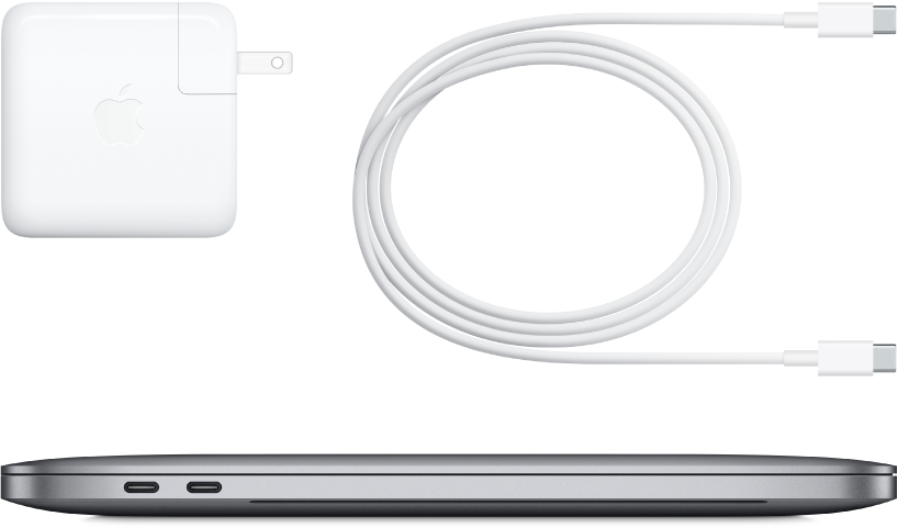 13-inch MacBook Pro side view with accompanying accessories.