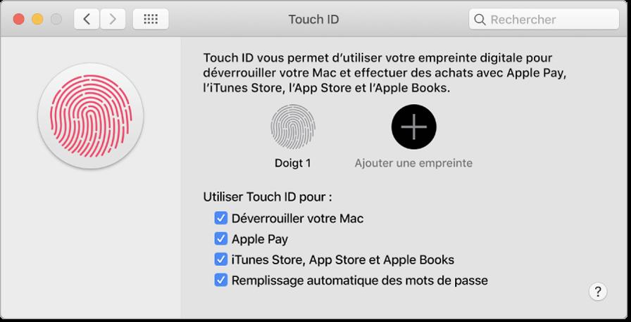 Fenêtre des préférences TouchID avec des options permettant d'ajouter une empreinte et d'utiliser TouchID pour déverrouiller un Mac, d'utiliser ApplePay et d'effectuer des achats dans l'iTunesStore, l'AppStore et Librairie.