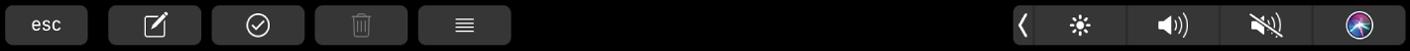 De TouchBar voor Notities met knoppen voor het aanmaken van een nieuwe notitie, het toevoegen van een lijstonderdeel en het verwijderen van een notitie.