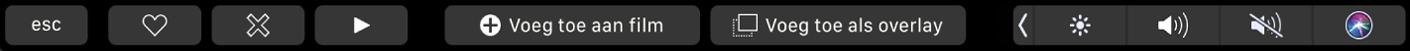 De TouchBar voor iMovie met knoppen voor favorieten, verwijderen, afspelen, toevoegen aan film en toevoegen als overlay.