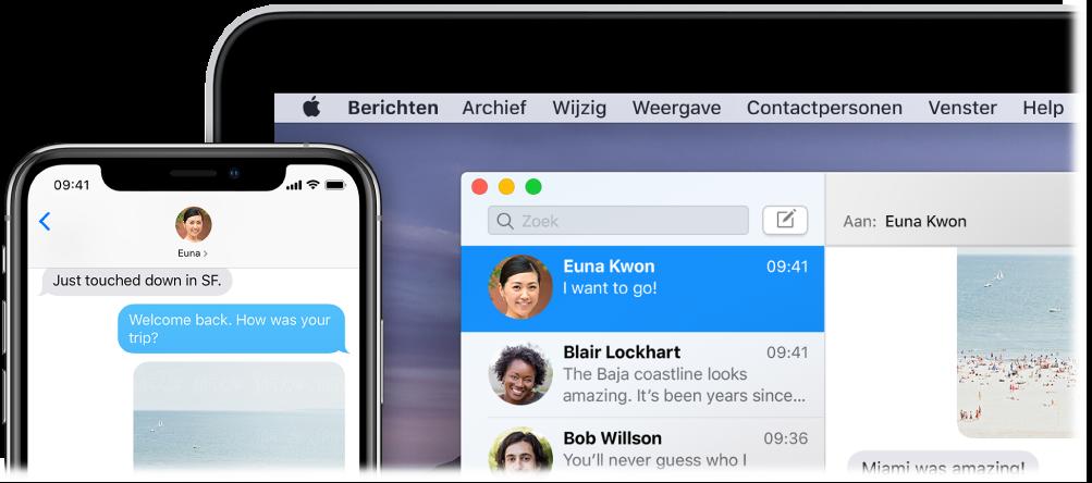 De app Berichten geopend op een Mac, met hetzelfde gesprek in Berichten op een iPhone.