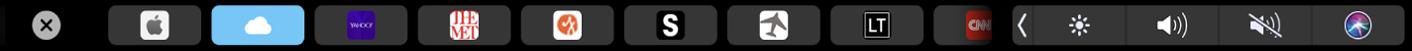 De TouchBar voor Safari met de favoriete pagina's in beeld.
