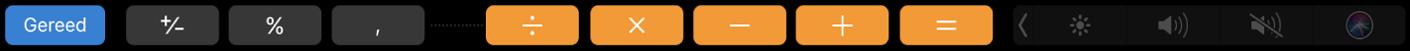 De TouchBar voor Rekenmachine in de bewerkmodus, met links de knop 'Gereed'.