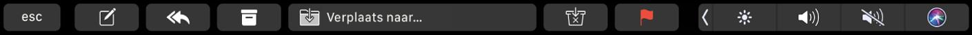 De TouchBar voor Mail met de knoppen voor opstellen, beantwoorden, archiveren, verplaatsen, als ongewenste reclame markeren en met een vlaggetje markeren
