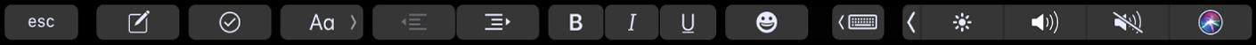De TouchBar voor Notities met knoppen voor tekstopmaak. Opmaakregelaars zoals links en rechts uitlijnen, vet, cursief en onderstrepen. Er is ook een knop voor het weergeven van suggesties tijdens typen.