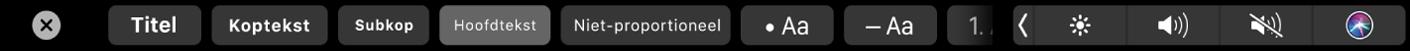 De TouchBar voor Notities met knoppen voor alineastijl zoals titel, koptekst en hoofdtekst en knoppen voor lijstopties zoals opsommingstekens, streepjes en nummers.