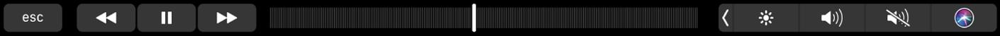 De TouchBar voor Muziek met knoppen voor het terugspoelen, pauzeren of vooruitspoelen van het huidige nummer. Er is ook een navigatiebalk waarmee je door een nummer kunt navigeren.