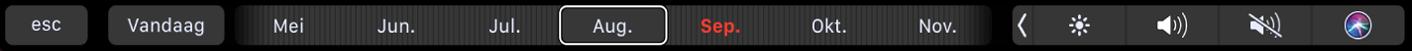 De TouchBar voor Agenda met de knop 'Vandaag' en een schuifknop voor het selecteren van een maand.