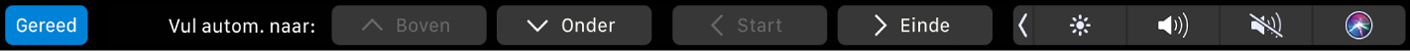 De TouchBar voor Numbers met knoppen voor automatisch invullen. Er zijn knoppen voor bovenkant, onderkant, begin en einde.