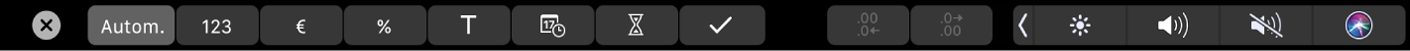 De TouchBar voor Numbers met knoppen voor opmaak. Er zijn knoppen voor valuta, percentage, getallen, tekst, datum, duur en lijst.