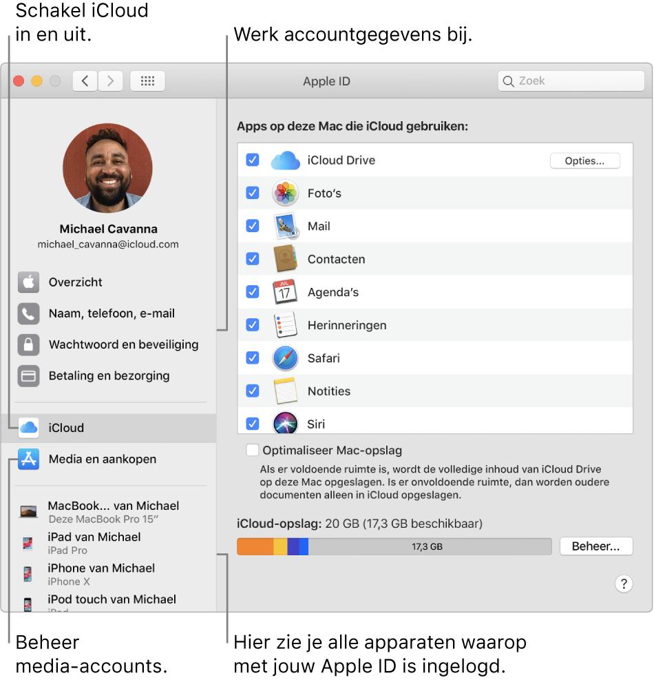 Het paneel 'AppleID' in Systeemvoorkeuren. Klik op een onderdeel in de navigatiekolom om je accountgegevens bij te werken, iCloud in of uit te schakelen, media-accounts te beheren en alle apparaten te zien waarop je met je AppleID bent ingelogd.