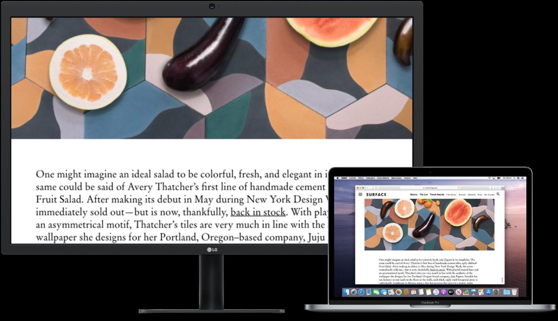 Scherm voor zoomen is actief op het scherm van de desktopcomputer, terwijl het schermformaat op de MacBookPro normaal blijft.