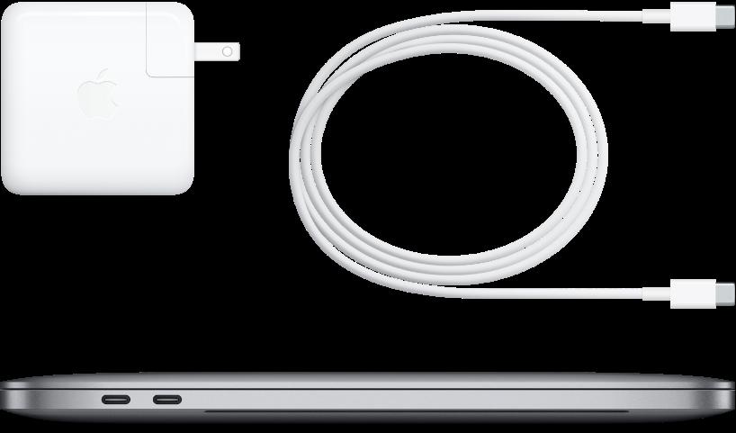 Zijaanzicht van de 13-inch MacBookPro met bijgeleverde accessoires.