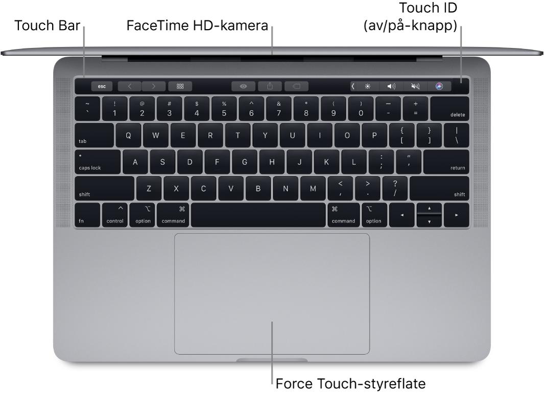 Oversikt over en åpen MacBook Pro med bildeforklaringer for TouchBar, FaceTime HD-kameraet, TouchID (av/på-knappen) og Force Touch-styreflaten.