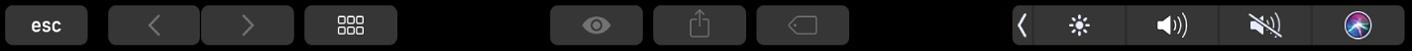 Görünümü değiştirme, önizleme,paylaşma ve etiket ekleme düğmeleriyle Finder Touch Bar'ı.