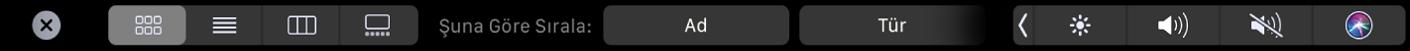 Görüntüleme ve sıralamaseçeneklerini gösteren Finder Touch Bar'ı.