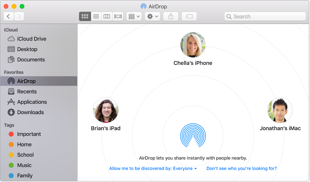 A Finder window with AirDrop selected in the Favorites section of the sidebar.
