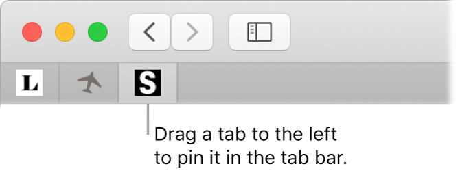 A Safari window showing how to pin a tab in the tab bar.