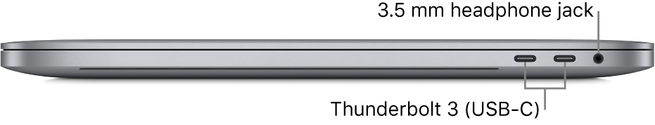 The right side view of a MacBook Pro with callouts to the two Thunderbolt 3 (USB-C) ports and the 3.5 mm headphone jack.