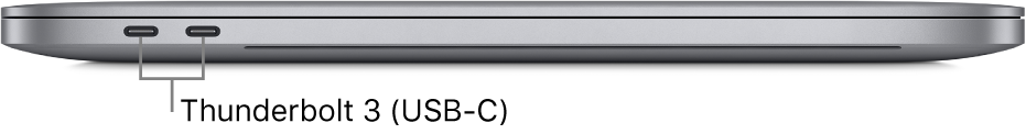 The left side view of a MacBook Pro with callouts to the Thunderbolt 3 (USB-C) ports.