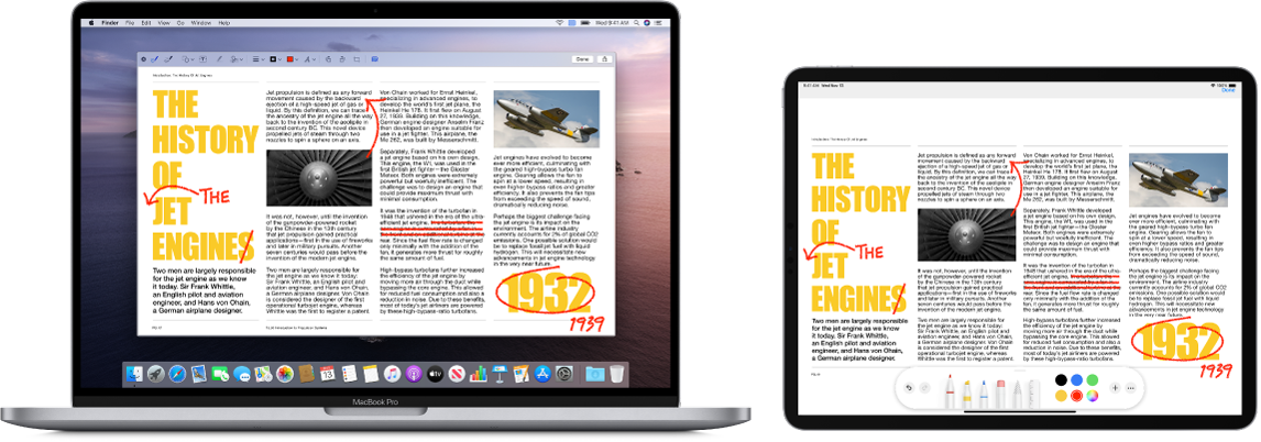 A MacBook Pro and an iPad sit side by side. Both screens display an article covered in scribbled red edits, such as crossed out sentences, arrows, and added words. The iPad also has mark up controls at the bottom of the screen.