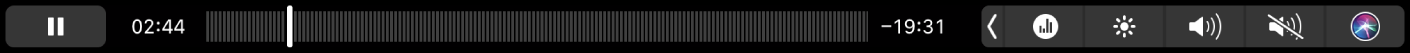 The Podcasts Touch Bar with a podcast playing.