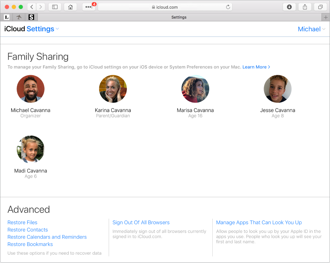 A Safari window showing Family Sharing settings on iCloud.com.