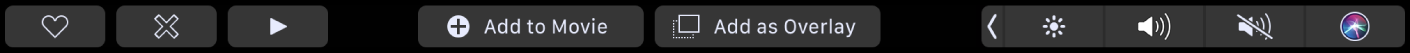 The iMovie TouchBar showing buttons for favorite, delete, play, add to movie, and add as overlay.