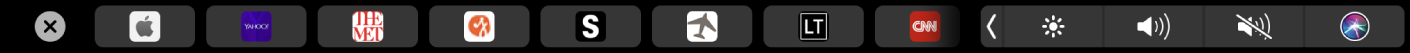 The Safari TouchBar with favorite pages displayed.