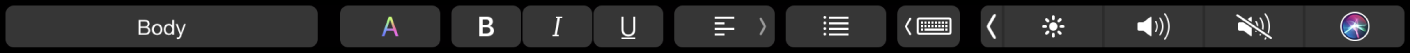 The Pages TouchBar with buttons for changing paragraph styles, text color, text formatting, and text alignment. There's also the typing suggestions button.