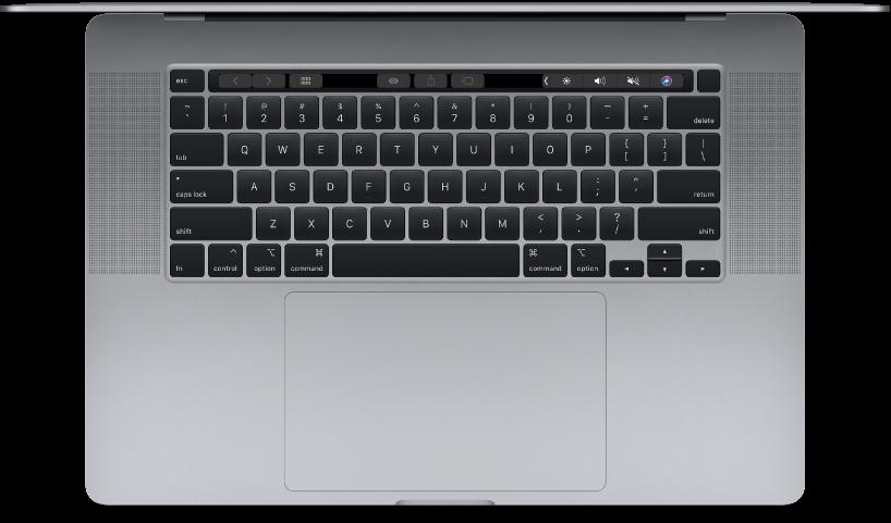 Vista superiore di MacBook Pro da 16 pollici.