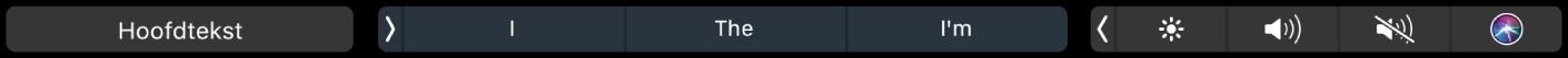 De TouchBar voor Pages met de knop voor alineastijlen en suggesties tijdens typen.