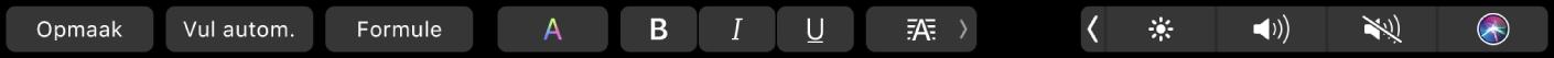 De TouchBar voor Numbers met knoppen voor opmaak, automatisch vullen en formules. Er zijn ook knoppen voor de opmaak van tekst. Je kunt de kleur van de tekst wijzigen, tekst vet of cursief maken, onderstrepen of uitlijnen.