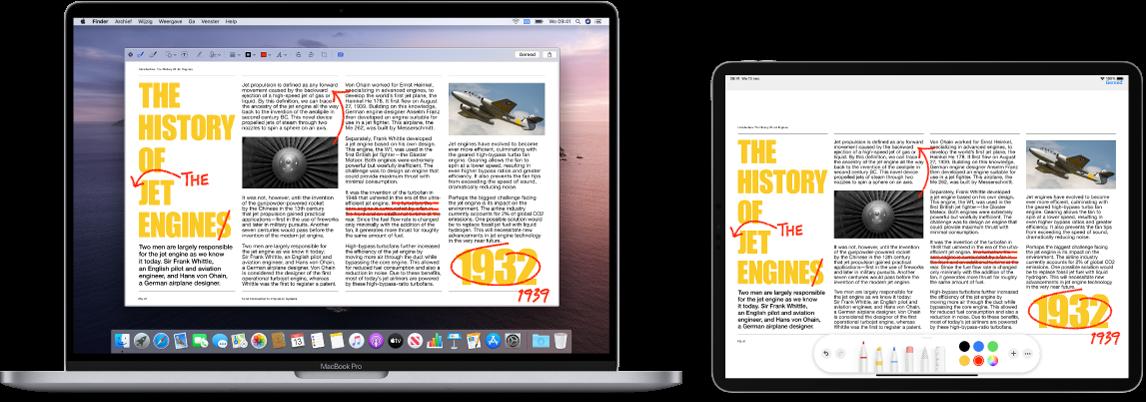 Een MacBookPro en een iPad naast elkaar. Op beide schermen wordt een artikel weergegeven met rode markeringen zoals doorgestreepte zinnen, pijlen en toegevoegde woorden. Onder aan het scherm van de iPad bevinden zich ook markeringsregelaars.