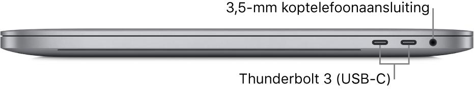 Het rechteraanzicht van een MacBookPro met bijschriften voor de twee Thunderbolt3-poorten (USB-C) en de 3,5-mm koptelefoonaansluiting.