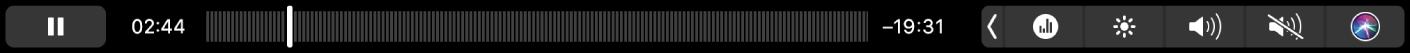 De TouchBar voor Podcasts wanneer een podcast wordt afgespeeld.