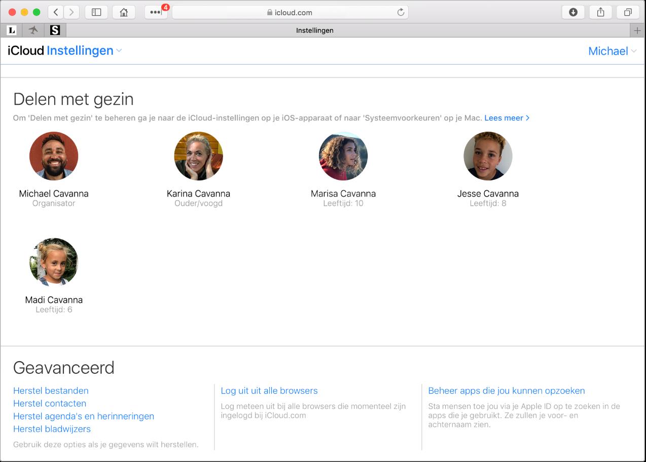 Een Safari-venster met instellingen voor Delen met gezin op iCloud.com.