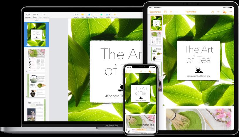 iCloud-materiaal waar op diverse apparaten toegang toe is.