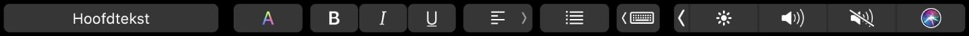 De TouchBar voor Pages met knoppen voor het wijzigen van de alineastijl en de kleur, opmaak en uitlijning van de tekst. Er is ook een knop voor het weergeven van suggesties tijdens typen.
